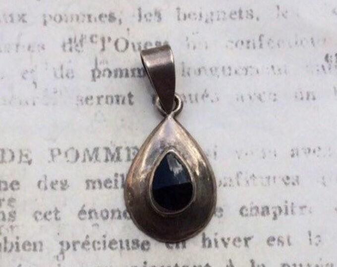 Vintage Silver Onyx Pendant | Tear Drop Charm