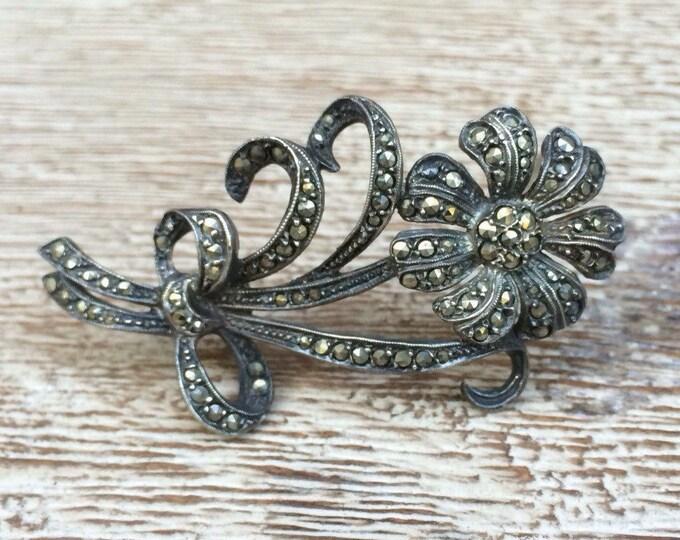 Vintage Silver Marcasite Flower Brooch | Daisy Brooch