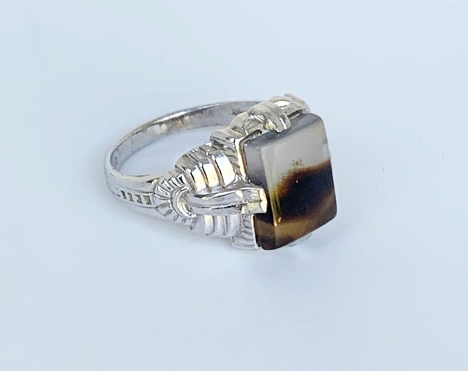 Vintage Uncas Sterling Agate Art Deco Ring | US Size 6 1/4 Ring