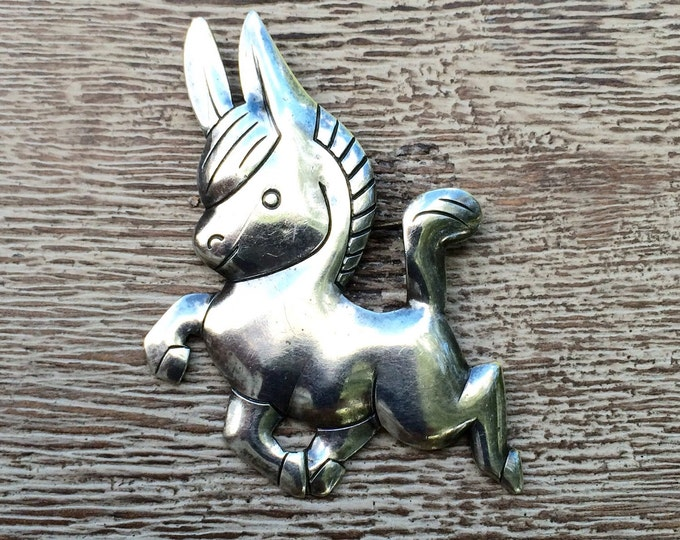 Vintage Silver Donkey Brooch | Bell Trading Post Brooch | Burro