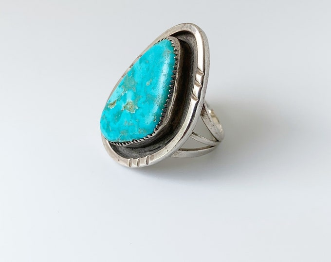 Vintage Silver Turquoise Ring | Southwest Turquoise Shadow Box Ring | Size 6 1/2 Ring