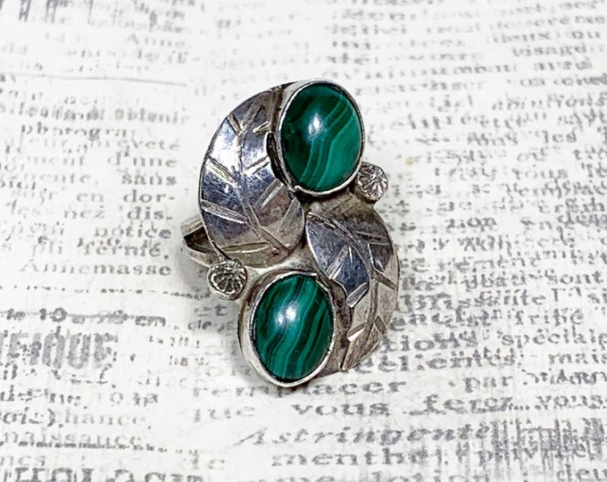 Vintage Southwest Malachite Ring | Silver Two Stone Ring | Pinky Ring | Size 3 Ring