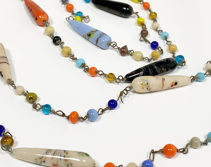 Vintage Harlequin Glass Bead Necklace | Art Glass Long Necklace