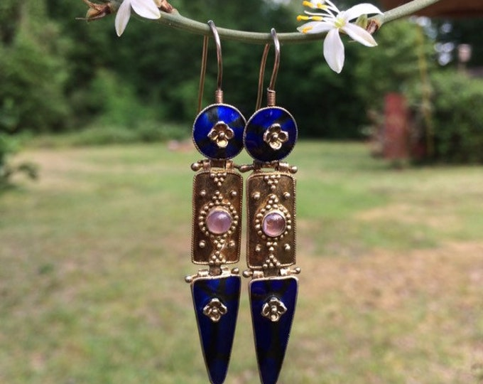 Vintage Silver Blue Enamel Earrings | Floral Granulated Design | Enamel Articulated Silver Earrings