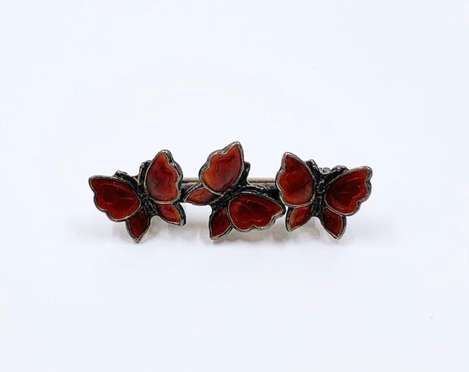 Vintage Silver Red Enamel Butterfly Brooch | Danish Brooch | Meka Sterling