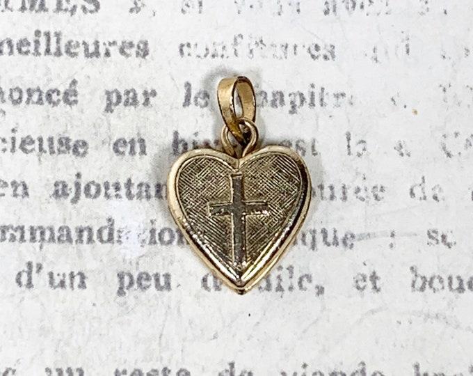 Vintage Mini Cross Heart Locket | Gold Filled Heart Pendant
