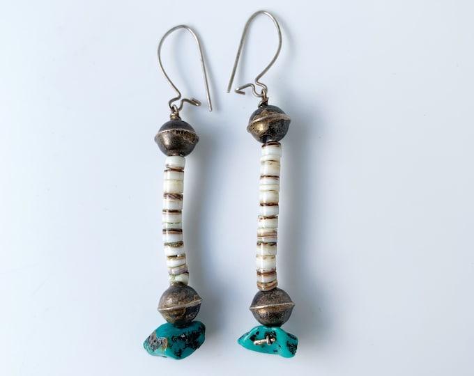 Vintage Silver Heishi Bead and Turquoise Earrings   Southwest Drop Earrings