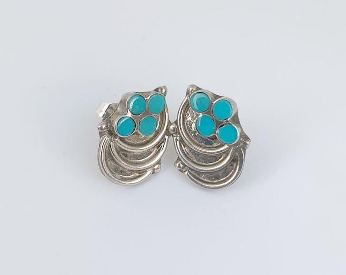 Vintage Turquoise Snake Eye Stud Earrings | 4 Stone Cluster Studs