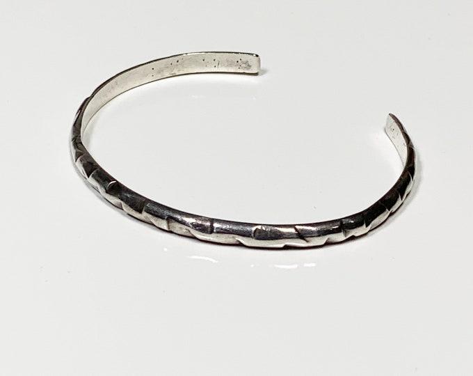 Vintage Silver Hand Stamped Cuff | Silver Cuff Bracelet
