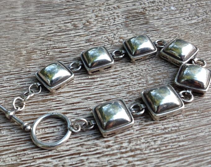 Vintage Silver Modernist Bracelet | Domed Square Box Bracelet