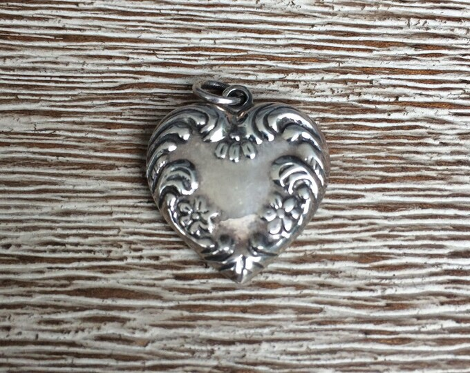 Vintage Silver Puffy Heart Charm | Puffy Heart | Repousse Flowers and Swirls Design
