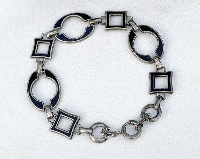 Sterling Silver Art Deco Enamel Bracelet | Black Enamel