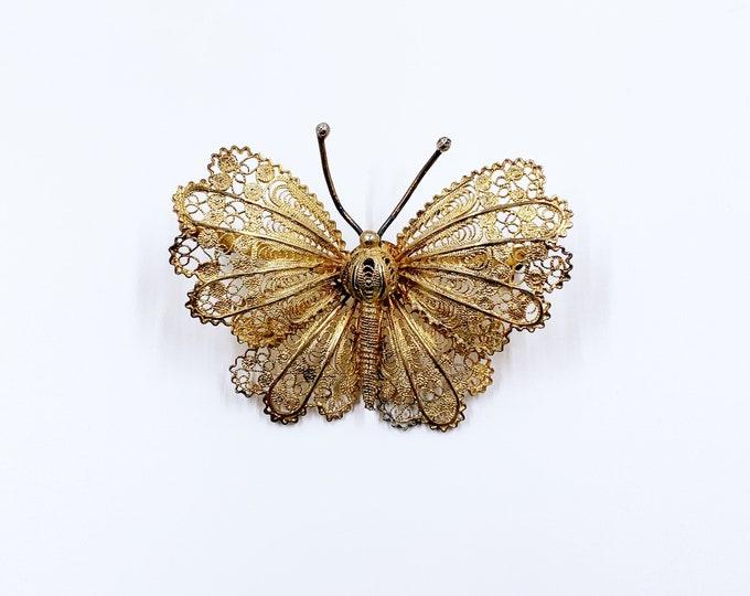 Vintage Filigree Butterfly Brooch | Vermeil Silver Butterfly