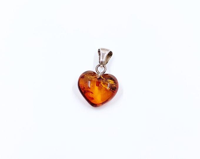Vintage Amber Heart Charm | Mini Heart Pendant