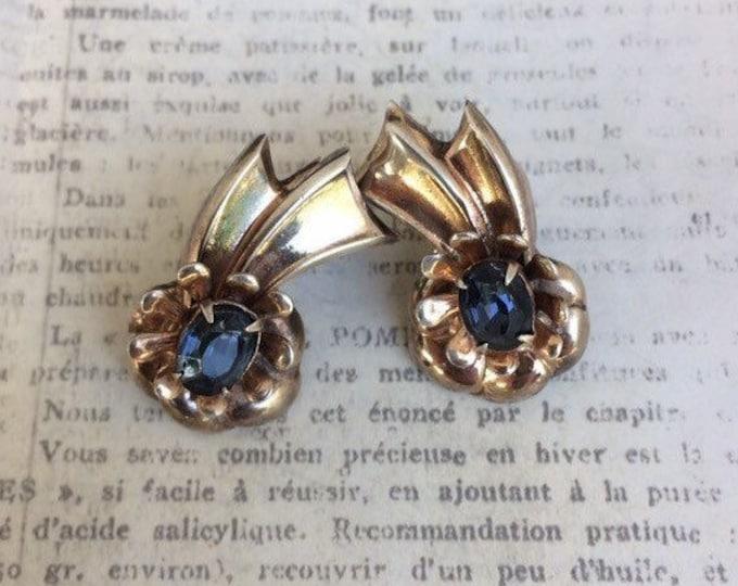 Vintage Sterling Silver Flower and Ribbon Earrings | Retro Earrings | Screw Back Earrings | Blue Rhinestone