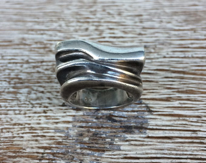 Vintage Silver Modernist Ring | Sterling Silver Ring | Abstract Wave Design | Size 4 1/2