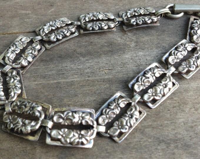 Vintage Silver Floral Bracelet | Floral Box Link Bracelet | Beau Sterling