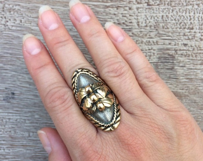 Vintage Silver and Gold Navajo Ring | Julia Martinez | Native American Jewelry | Size 8