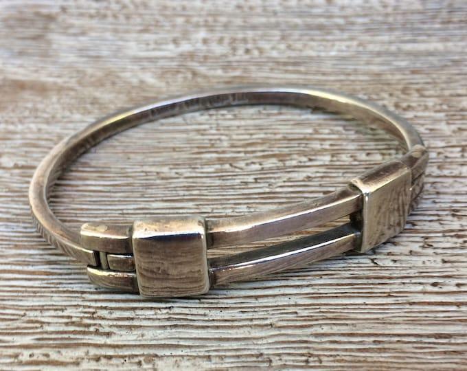 Silver Modernist Hinged Cuff Bracelet   Mexican Silver Cuff