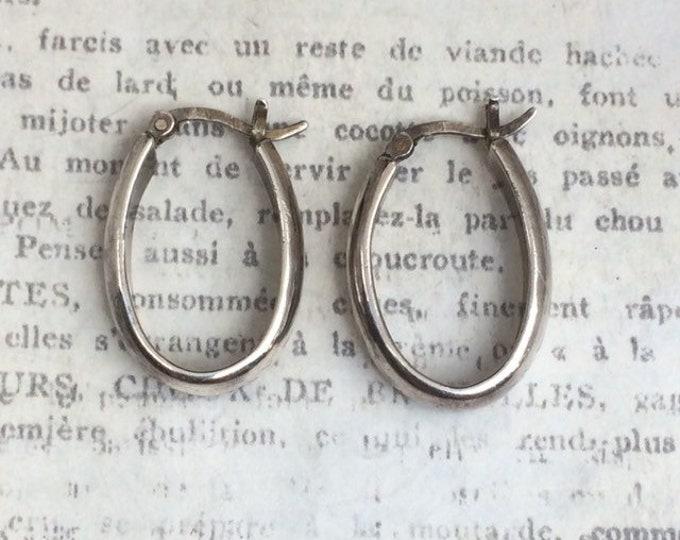 Vintage Hoop Earrings | Silver Oval Hoops
