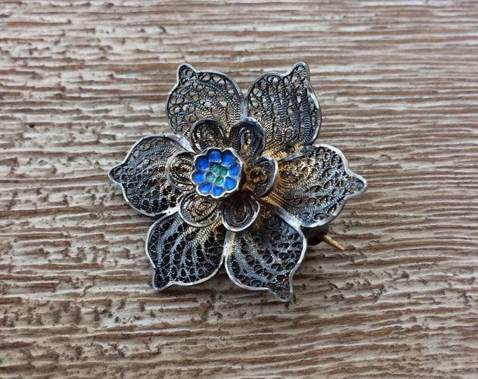 Vintage Silver Filigree Flower Brooch | Blue Enamel