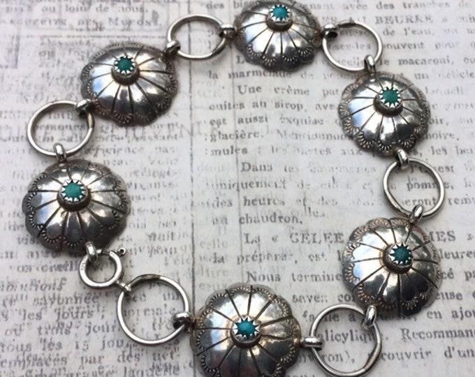 Sterling Silver Turquoise Concho Bracelet | Handmade Andrew Johnson Navajo | Native American Concho Bracelet