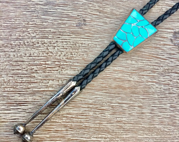 Vintage Silver Turquoise Inlay Bolo Tie | Fish Scale Channel Inlay Jewelry | Southwest