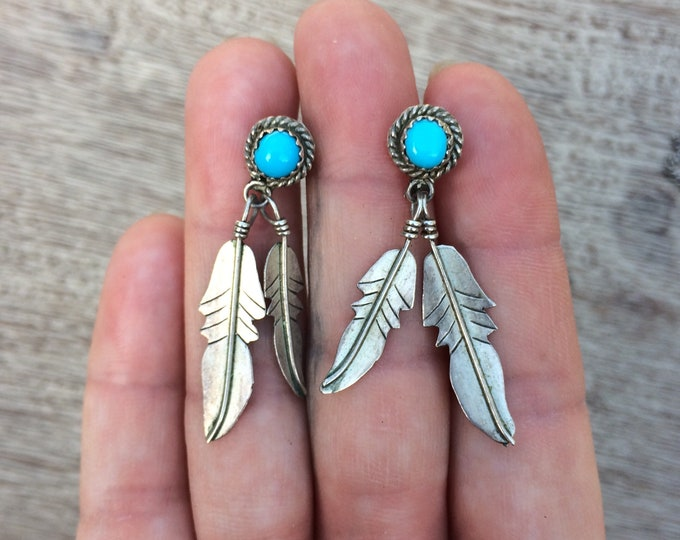 Vintage Silver Turquoise Feather Earrings | South West