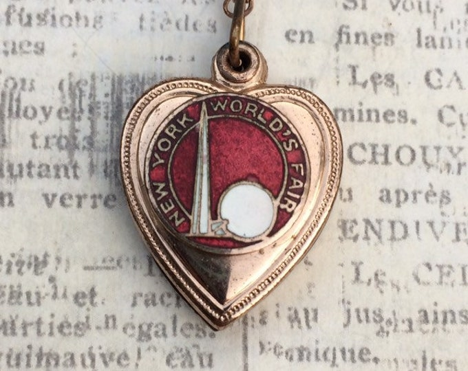 Vintage New York World's Fair Necklace | Heart Locket | Red Enamel | 1939 Fair Souvenir Locket