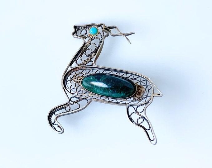 Vintage Filigree Antelope Brooch | Eilat Stone | Made in Israel | Filigree Addax Brooch