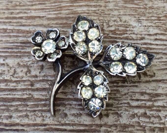 Vintage Paste Flower Brooch | Silver Flower Brooch