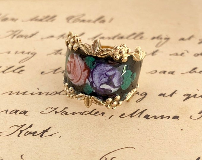 Vintage Black Enamel Flower Ring | Espo Ring | Sterling Silver Cigar Band | Size 7