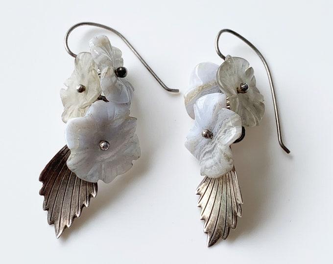 Sterling Carved Agate Flower Earrings