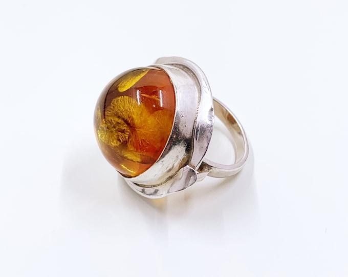 Vintage Silver Amber Ring   Large Amber Statement Ring   Size 6