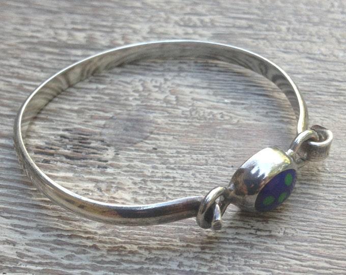 Vintage Mexican Silver Bracelet | Blue and Green Stone | Modernist Bracelet