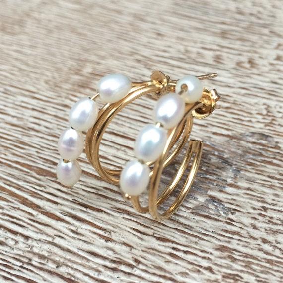 Vintage Gold Pearl Earrings | 14K Gold Open Hoop E