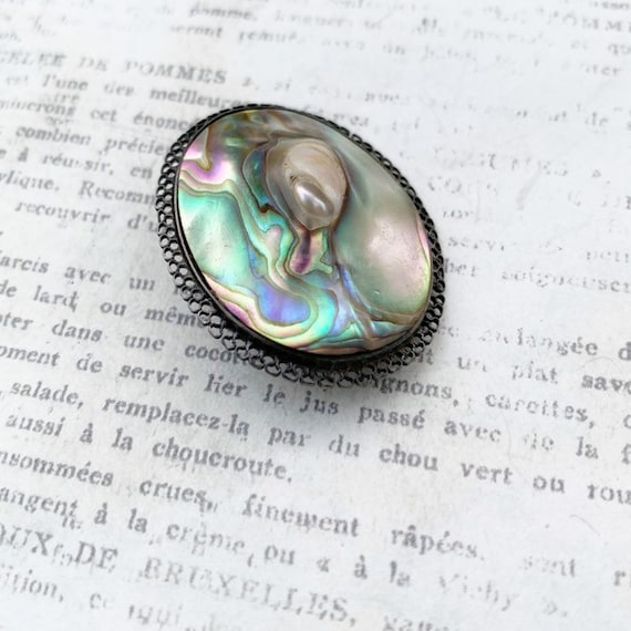 Vintage Abalone Brooch   Blister Pearl - image 2