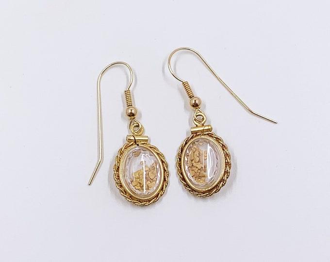 Vintage Gold Nugget Flake Earrings | Shaker Locket Gold Nugget Earrings | Gold Prospecting