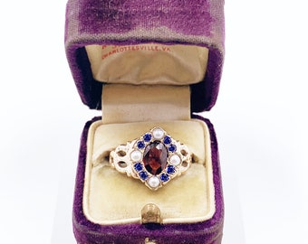 Antique Victorian 9k Gold Garnet, Seed Pearl and Sapphire Ring | US Size 7 1/4 Ring