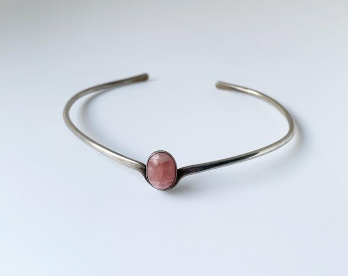 Silver Rhodochrosite Cuff Bracelet   Stackable Pink Stone Cuff   Small Gemstone Bracelet
