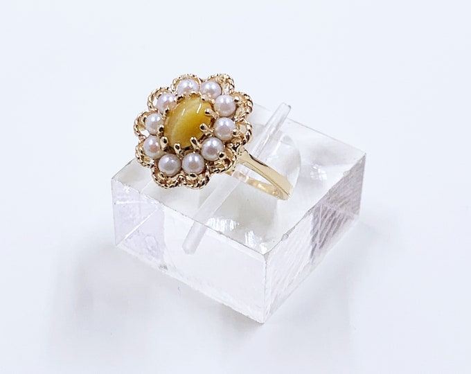 Vintage Gold Tigers Eye and Pearl Halo Ring | 14K Gold Halo Flower Ring | KGC Ring | Size 7 1/4