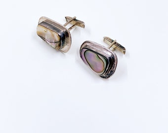 Vintage Mexican Silver Abalone Cuff Links   Mexican Modernist Cuff Links