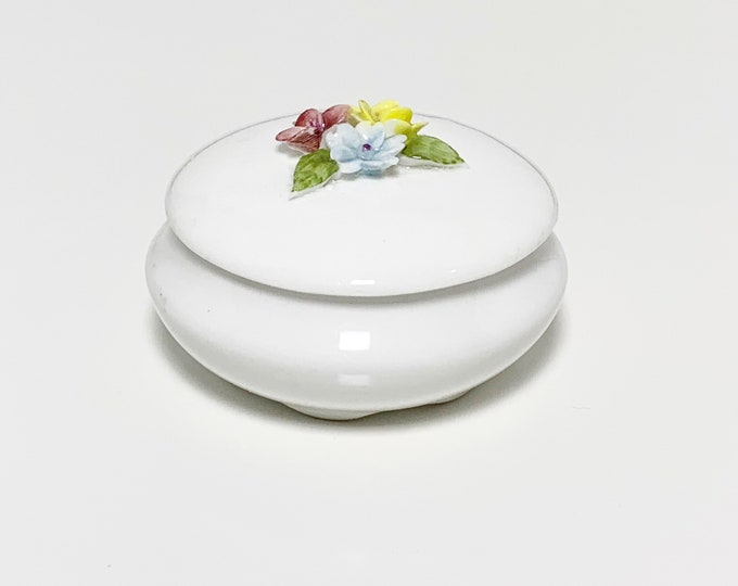 Vintage Porcelain Applied Flower Trinket Jar | Bone China Coalport Jar | Made In England
