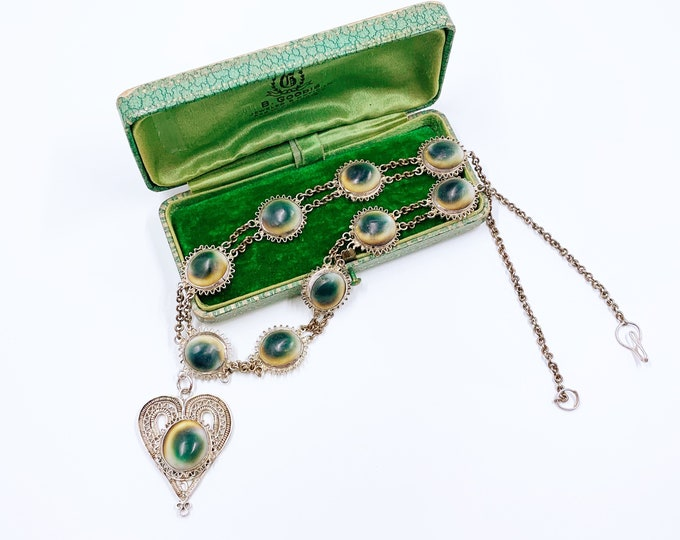 Vintage Silver Operculum Filigree Necklace | Operculum Silver Filigree Heart Drop Necklace