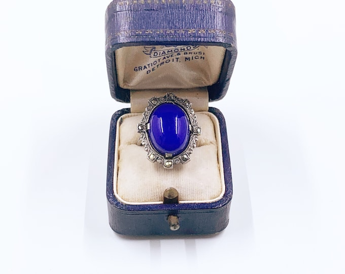 Vintage Sterling Silver Art Deco Style Ring | Marcasite Blue Glass Ring | Size 4 Ring