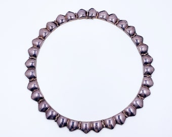 Vintage Silver Italian Modernist Link Choker Necklace | Italian Silver Hinged Collar Necklace