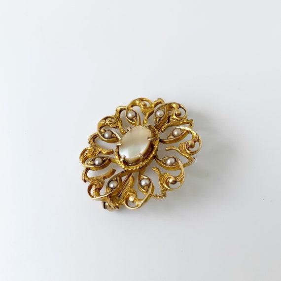 Vintage Seed Pearl Brooch | Mother of Pearl | Gol… - image 3