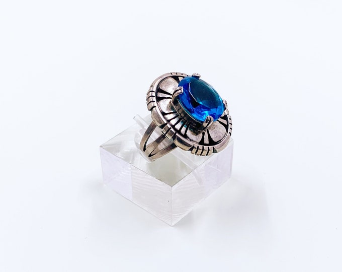 Vintage Sterling Silver Shadow Box Ring | Sterling Blue Stone Ring | Size 6 Ring