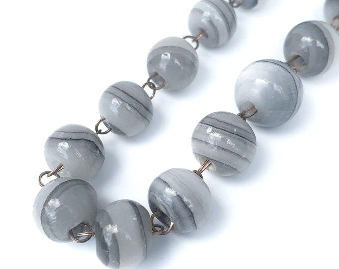 Vintage Grey Banded Agate Necklace