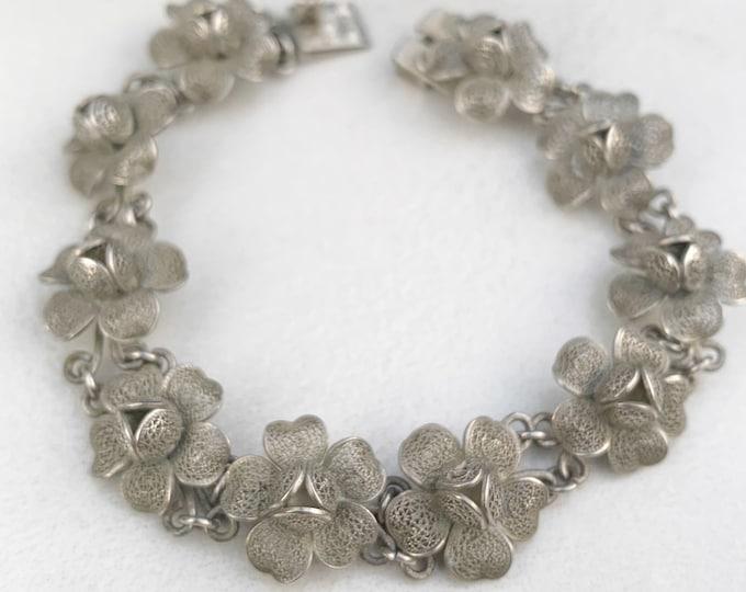 Vintage Silver Filigree Flower Bracelet   Silver Floral Link Bracelet